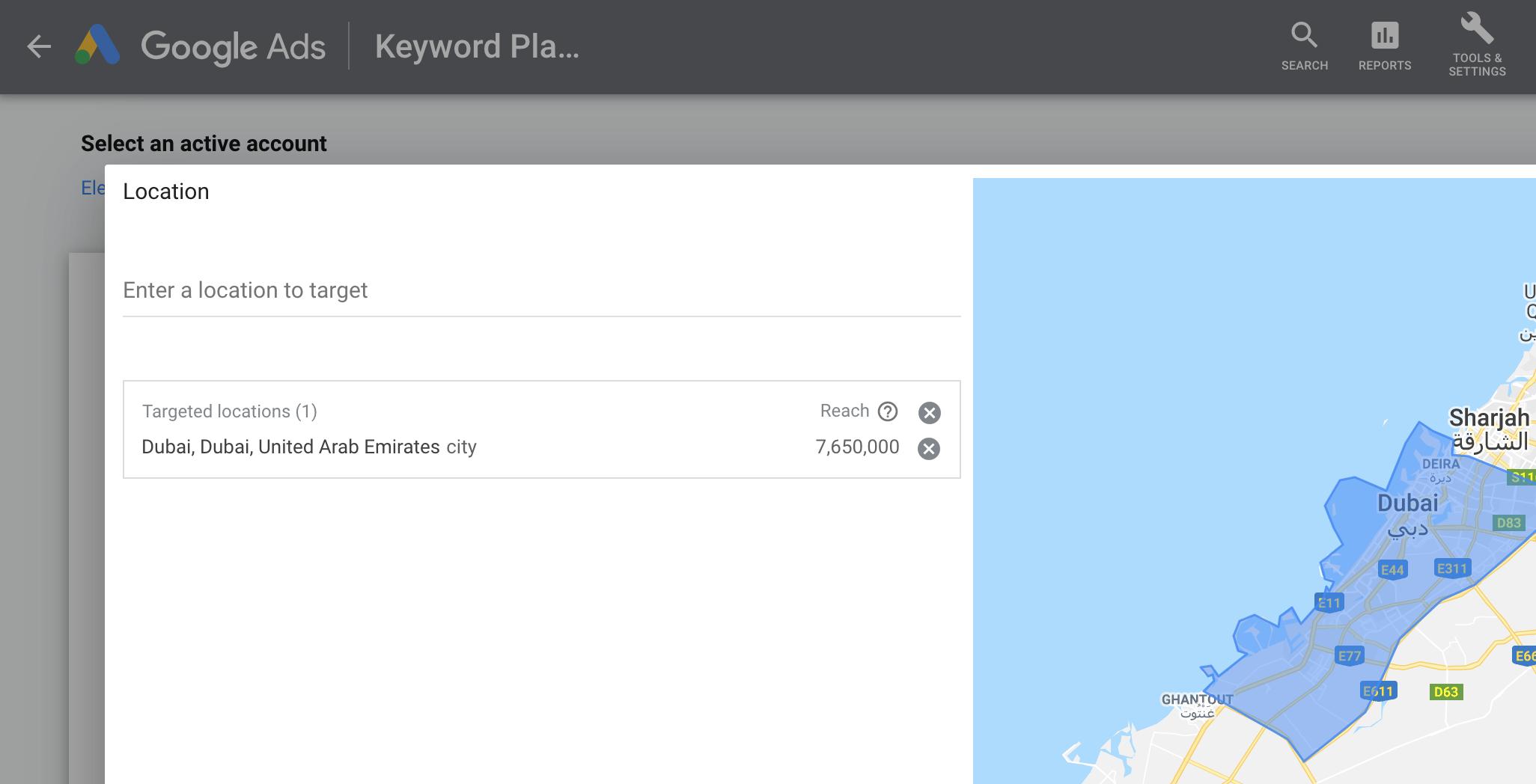 keyword targeting dubai